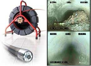 Albion drain cleaning, A TV camera and view of a sewer pipe showing roots before the pipe is cleaned and showing a view after its cleaned with no roots in the pipe.